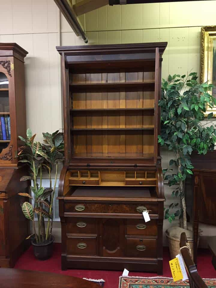 Antique Cylinder Roll Top Desk Secretary With Bookcase Top