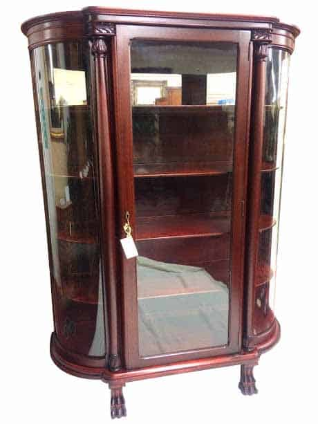 Antique Cabinet - Antique Mahogany Paw Foot Bow Front China Cabinet ⋆ Bohemian's