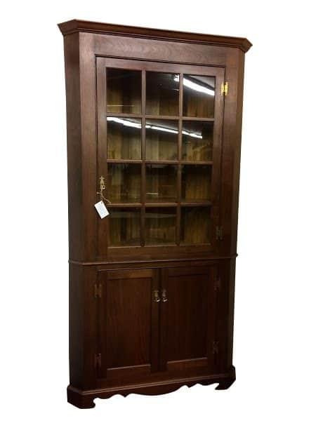 Custom Made Walnut Corner Cabinet - Corner Cabinet - Antique Style