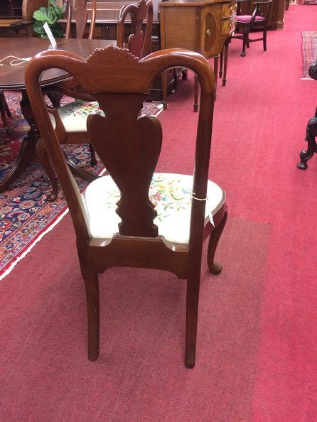 Vintage carved shell dining chairs with ruffled linen chair etsy