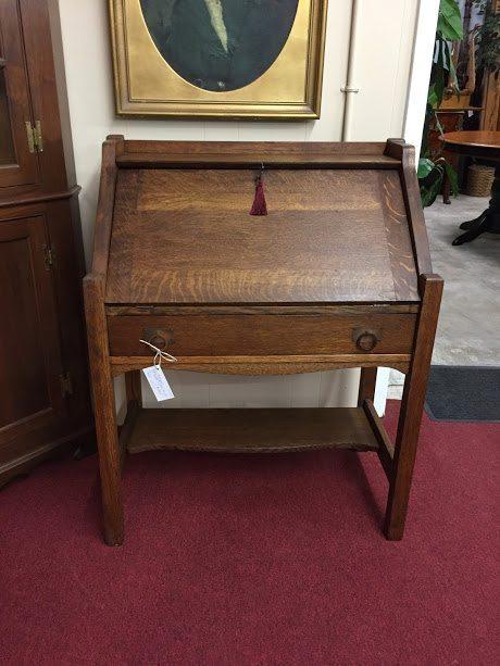 antique mission furniture · oak mission desk - Antique Oak Mission Style Slant Front Desk ⋆ Bohemian's