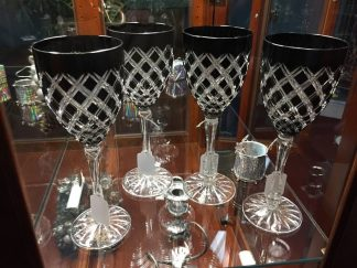 Black cut to clear vintage crystal goblets.