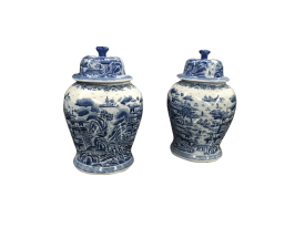 Blue and white ginger jars