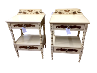 Pair of Hitchcock Stenciled Cream Nightstands
