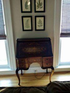 inlaid antique secretary desk