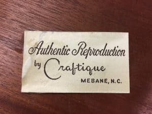Reproduction Craftique Authentic Furniture