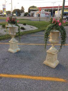 antique white garden urns