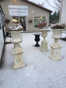 pair cast iron garden urns