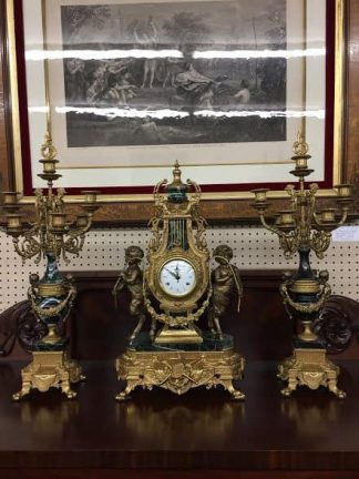 clock and candelabra set