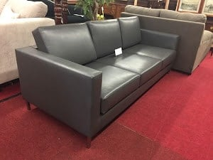 grey pleather sofa