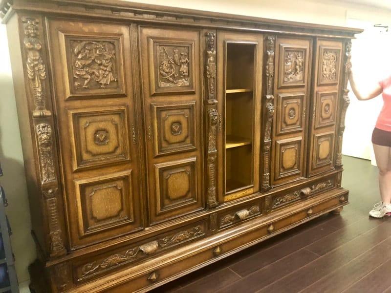 carved european cabinet