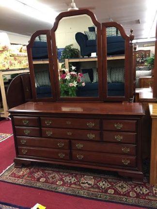 cherry dresser with mirror