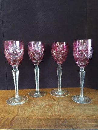 pink bohemian crystal glasses