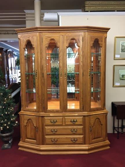 Keller Oak Lighted Hutch Cabinet ⋆ Bohemian's