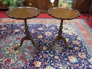 Carved Mahogany Pedestal End Tables