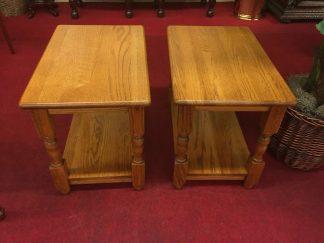 Solid Golden Oak End Tables