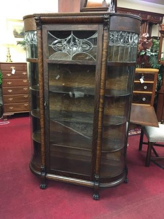 Antique Leaded Glass Oak Bowfront China Cabinet