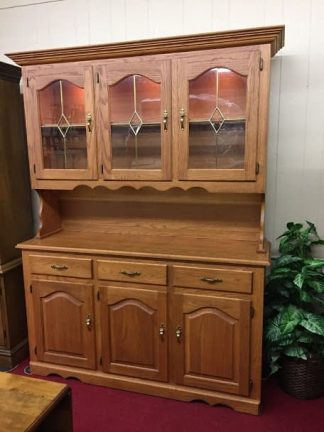 Amish Made Oak China Cabinet