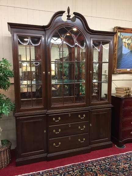 What's The Value of a Vintage Ethan Allen Solid Cherry Lighted China Cabinet