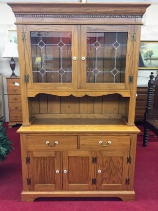 Oak Lighted China Cabinet