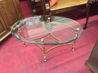 Vintage Glass Top Coffee Table