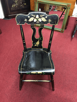 Vintage Stenciled Plank Bottom Chair