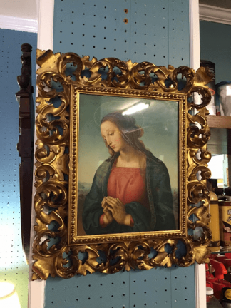 Virgin Mary Portrait in Carved Frame