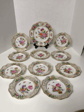 Dresden Reticulated Dessert Plate Set