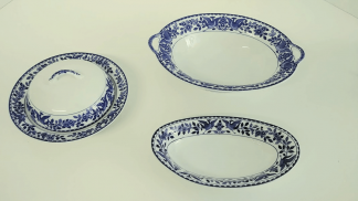 "Nippon ""Royal Sometuke"" Serving Dishes - Set of Three"