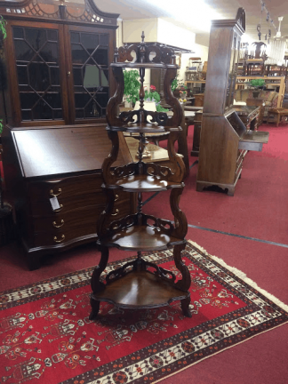 Antique Walnut Victorian Corner Etagere