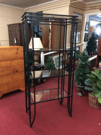 Vintage Metal and Glass Shelf
