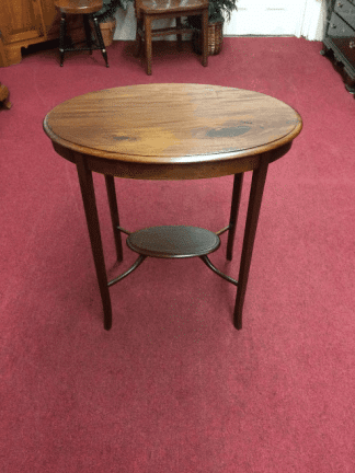 Vintage Oval Inlaid Mahogany Side Table
