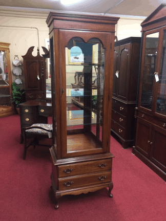 Vintage Curio Cabinet, Solid Wood, Cherry Lighted Cabinet