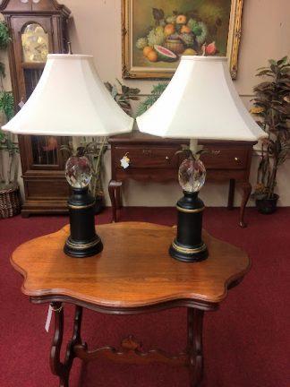 Vintage Crystal Pineapple Lamps, Williamsburg Lamps