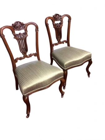 Antique Mahogany Carved Music Chairs