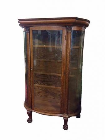Antique Oak Gettysburg China Cabinet