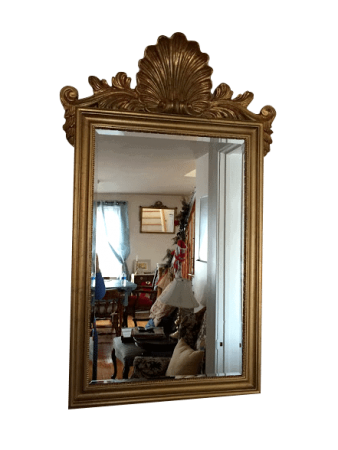 Vintage Shell Mirror with Beveled Glass