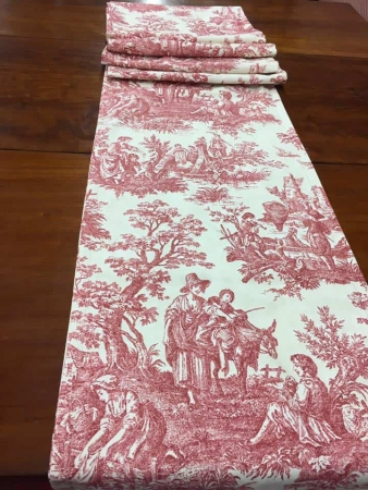 White Toile Table Runner