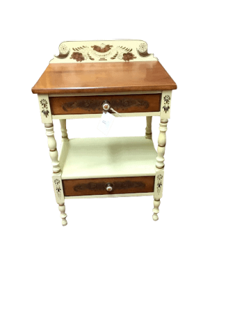Hitchcock Cherry and Cream Painted Nightstand