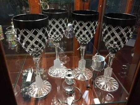 Black cut to clear vintage crystal goblets.