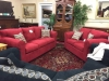 red sofa set