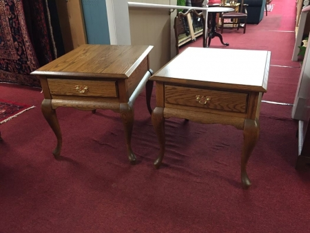 oak queen anne end tables