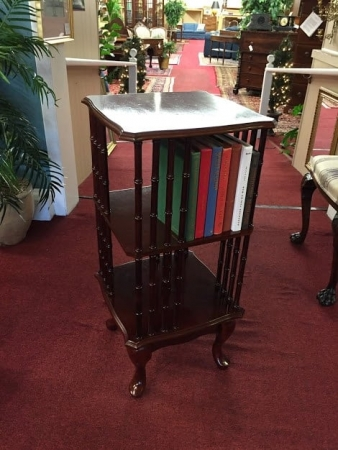 mahogany revolving book stand