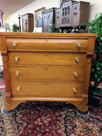 antique tiger maple empire chest of drawers