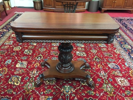 antique mahogany carved games table