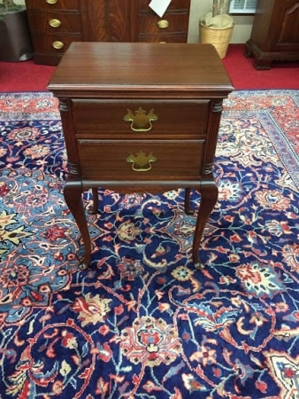 Mahogany Two Drawer End Table