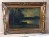 antique oil painting featuring moonlight on the river bank