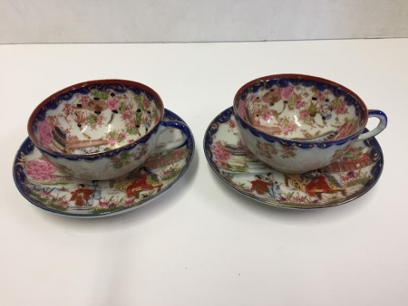 Pair of Blue Rose Medallion Cups and Saucers