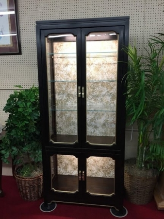 Oriental Style Lighted Curio Cabinet