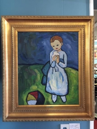 "Reproduction Oil on Canvas of Picasso's ""Girl with Ball"""